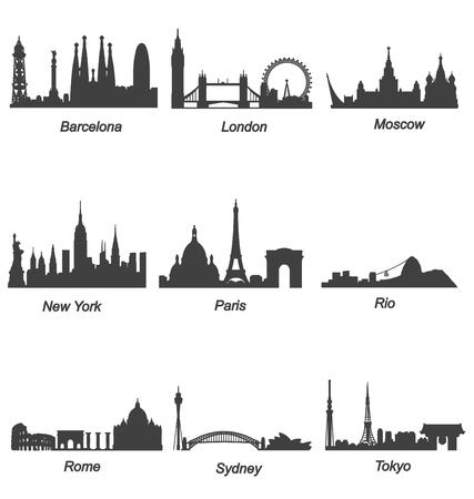 World Famous Cities Skylines Vettoriali