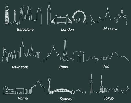 世界の有名な都市のスカイライン