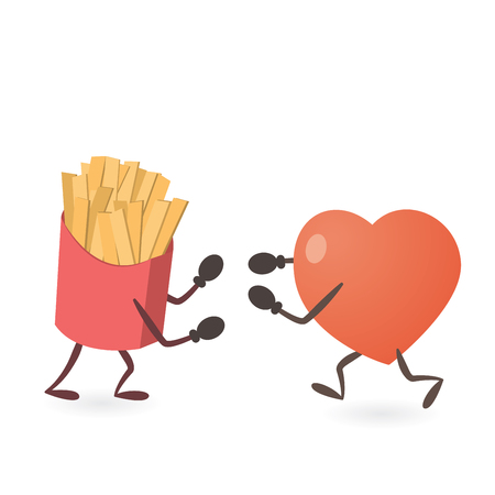 french fries: Heart and French Fries Fighting