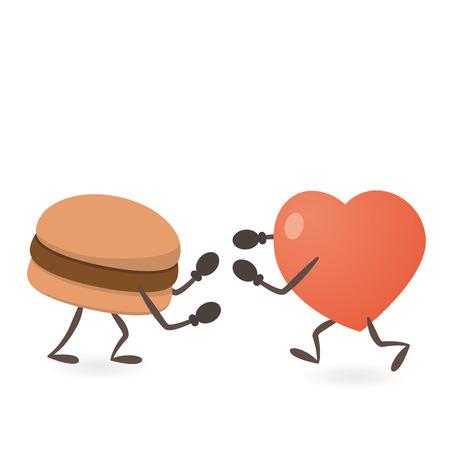 Heart and Hamburger Fighting