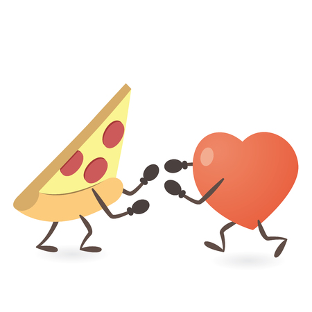 Heart and Pizza Fighting Illustration