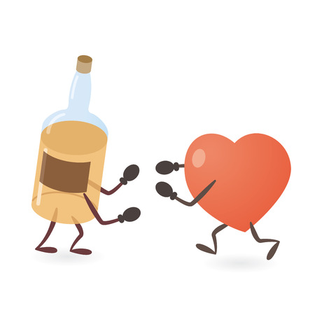 Heart and Alcohol Drink Bottle Fighting