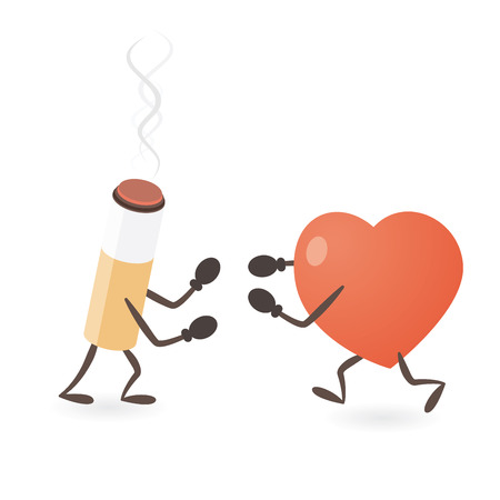 Heart and Cigarette Fighting Illustration