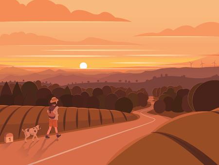 Sunset Walking Traveler Landscape Illustration