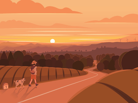 Sunset Walking Traveler Landscape Illustration