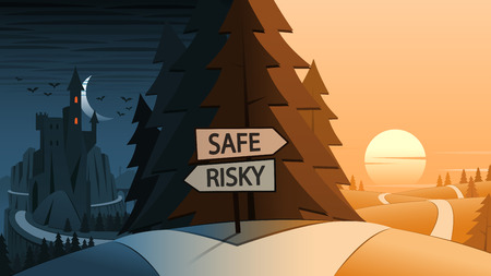 fork in the road: Safe and Risky Decision Making Road Junction Concept Illustration