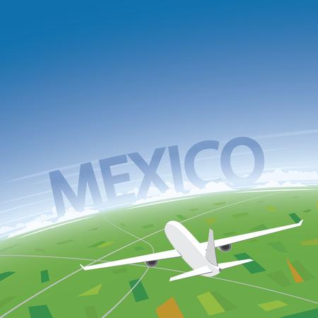 Mexico City Flight Destination Illustration