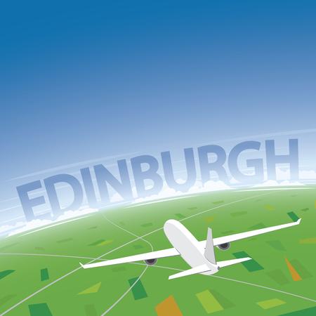 Edinburgh Flight Destination Illustration