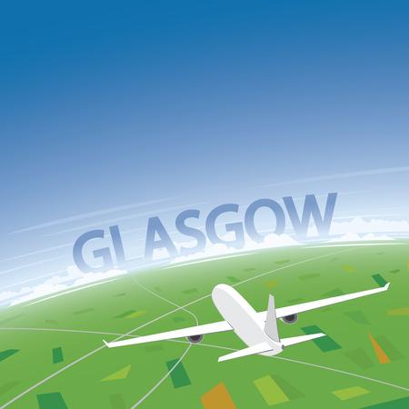 Glasgow Flight Destination Illustration