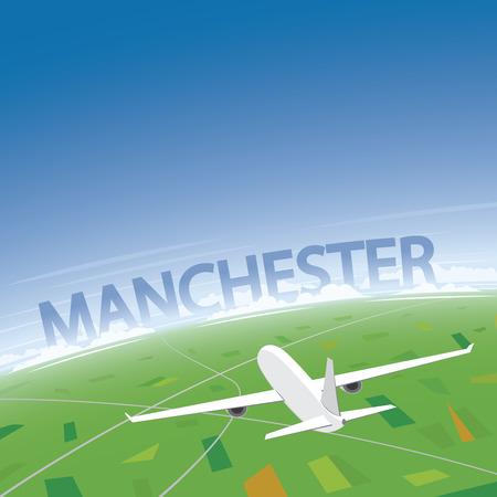 manchester: Manchester Flight Destination Illustration
