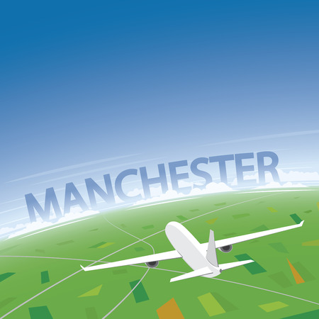 Manchester Flight Destination Illustration