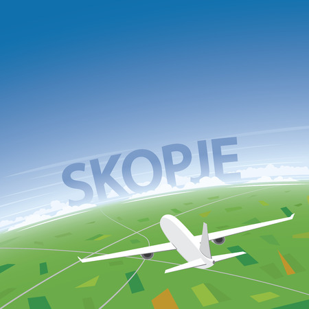 Skopje Flight Destination Illustration