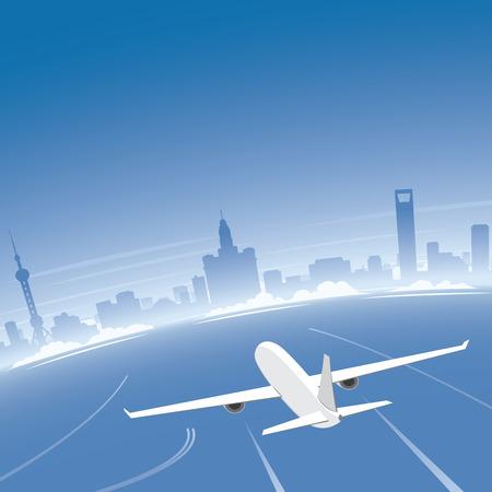 Shanghai Skyline Flight Destination Illustration