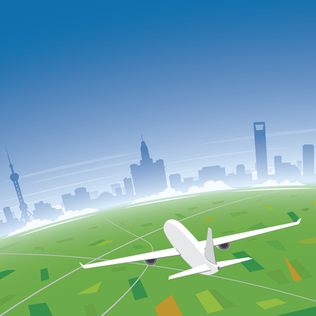 conventions: Shanghai Skyline Flight Destination Illustration