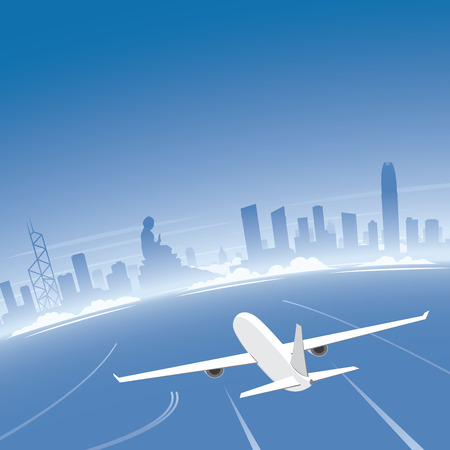 Hong Kong Skyline Flight Destination Illustration