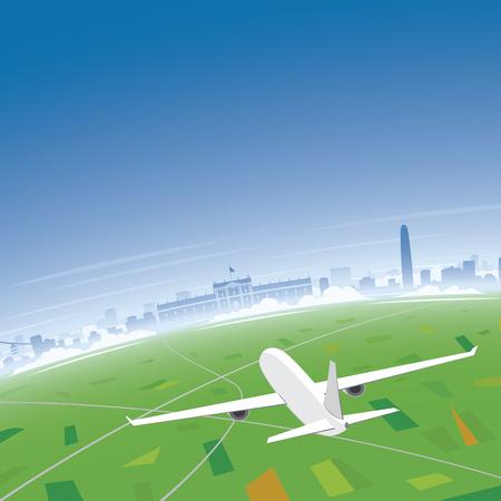 conventions: Santiago Skyline Flight Destination Illustration