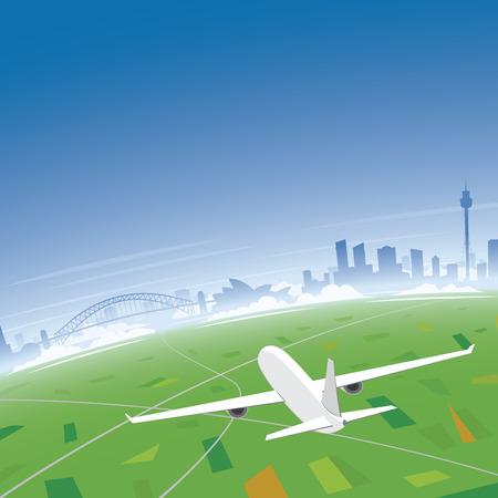 sydney skyline: Sydney Skyline Flight Destination Illustration