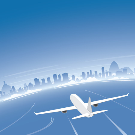 conventions: Rio de Janeiro Skyline Flight Destination Illustration