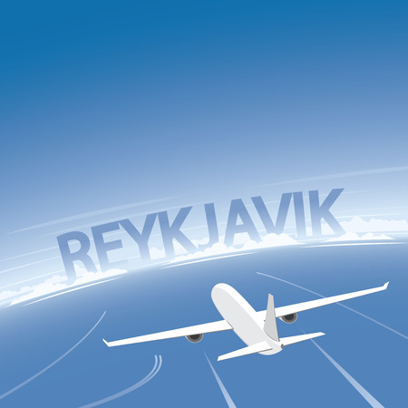 Reykjavik Flight Destination Illustration
