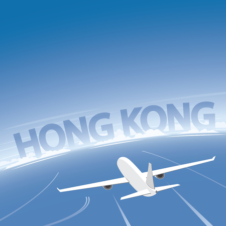 Hong Kong Flight Destination Illustration