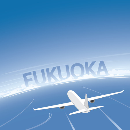 Fukuoka Flight Destination Illustration