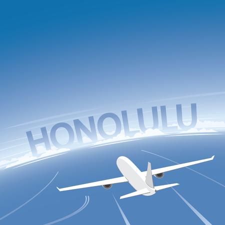 Honolulu Flight Destination Illustration