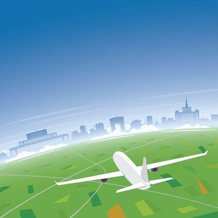 Bucharest Skyline Flight Destination Illustration