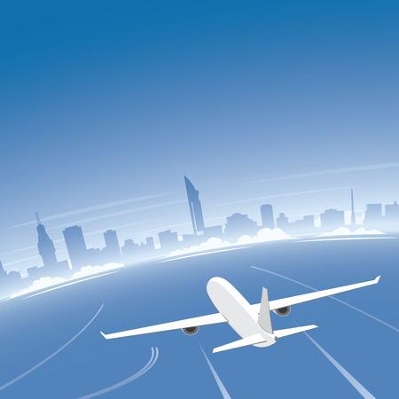 conventions: Montevideo Skyline Flight Destination Illustration