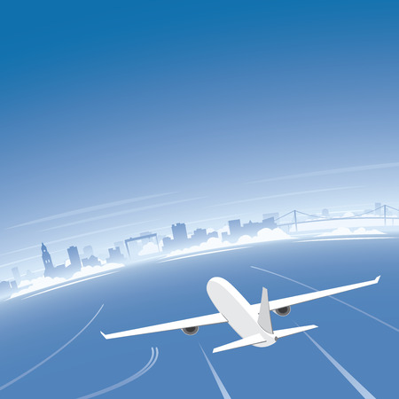 congress: Goteborg Skyline Flight Destination Illustration