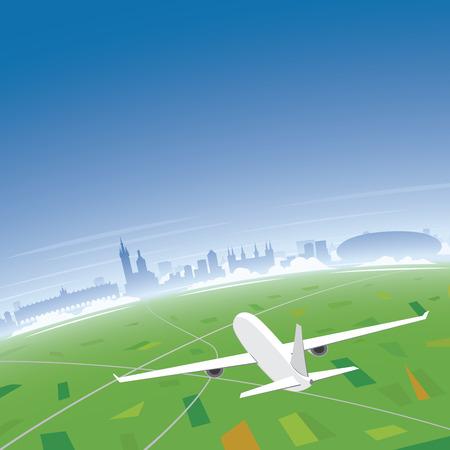 Krakow Skyline Flight Destination Illustration