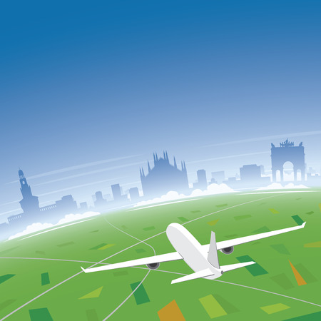 Milan Skyline Flight Destination Illustration