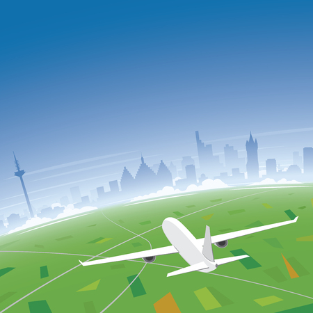 congress: Frankfurt Skyline Flight Destination Illustration