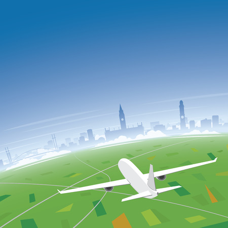 Manchester Skyline Flight Destination Illustration