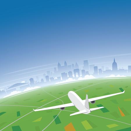 Atlanta Skyline Flight Destination Illustration