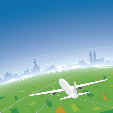 Poznan Skyline Flight Destination Illustration