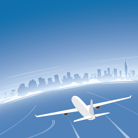 congress: Tel Aviv Skyline Flight Destination Illustration