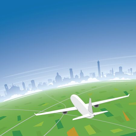 Bologna Skyline Flight Destination Illustration