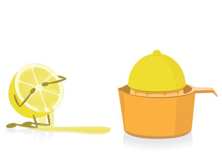 reamer: Half Lemon Crying Over Squeezed Half Lemon Illustration