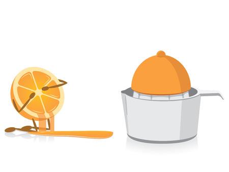 reamer: Half Orange Crying Over Squeezed Half Orange Illustration