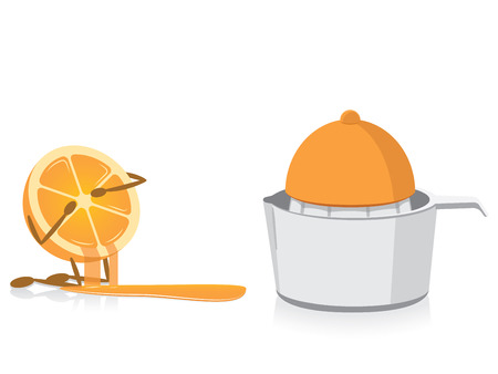 Half Oranje Crying Over Squeezed Half Orange Stock Illustratie
