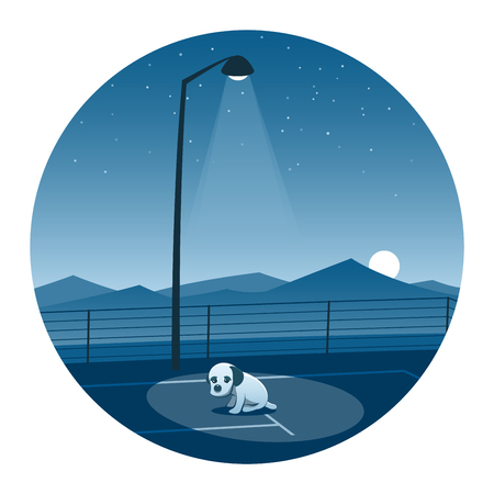 Abandoned Puppy Round Icon Illustration