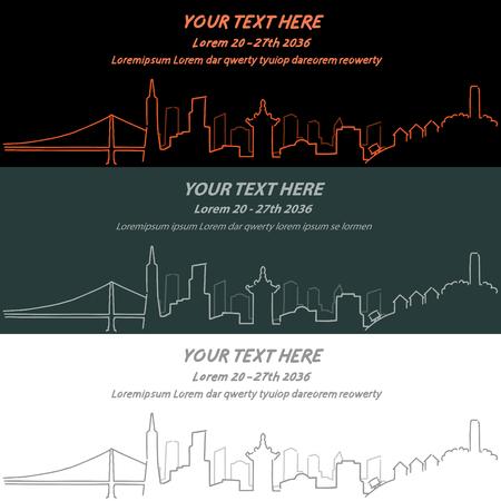 サンフラン シスコ イベント バナー手描き下ろしスカイライン  イラスト・ベクター素材