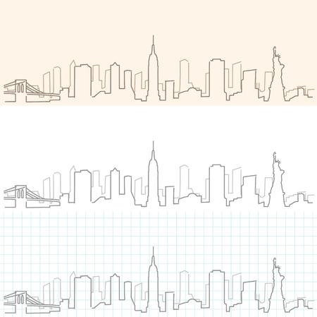 ニューヨークの手描き下ろしスカイライン。  イラスト・ベクター素材