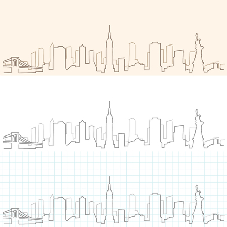 New York Hand Drawn Skyline.