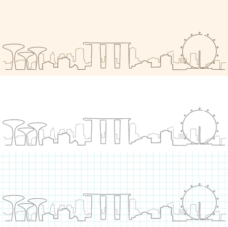 Singapore Hand Drawn Skyline. Illustration