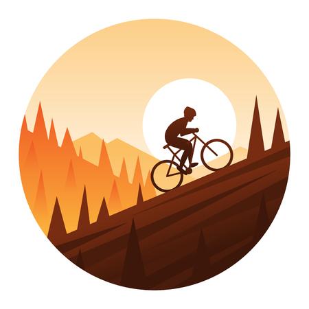 丸いアイコンを登山マウンテン バイク  イラスト・ベクター素材