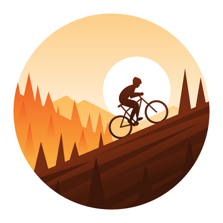 Mountain Bike Climbing Round Icon Illustration