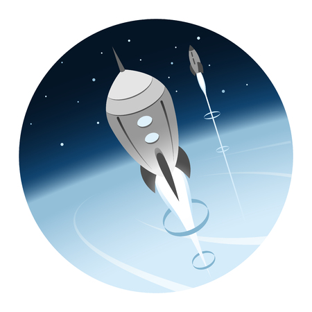 Rockets Going into Space Round Icon