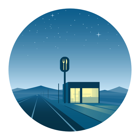Road Diner at Night Round Icon