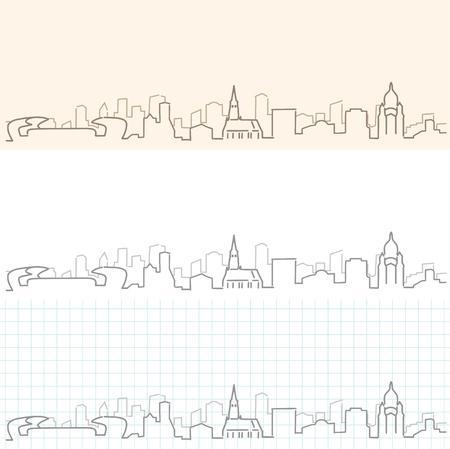 Cluj-Napoca Hand getekende skyline Stock Illustratie